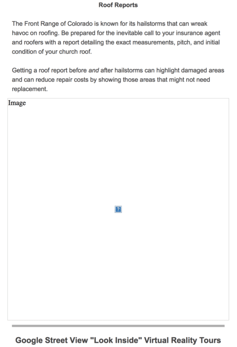 A broken image link in an HTML email