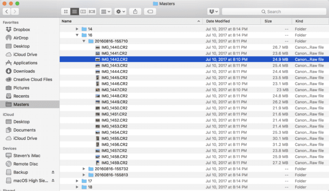 The original CR2 (Canon Raw image) files in the Masters folder of the Photos Library package file