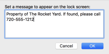 Enter a message to appear on your Mac's lock screen, then click OK