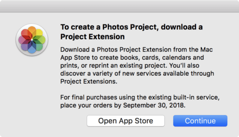 The dialog notifying Photos users to switch to third-party extensions to create print products