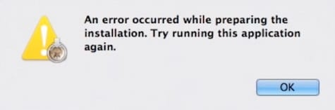 "Screenshot of ""An Error occurred while preparing the installation"" popup window"