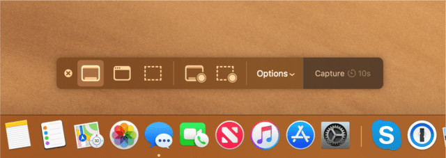 Mojave's screenshot toolbar