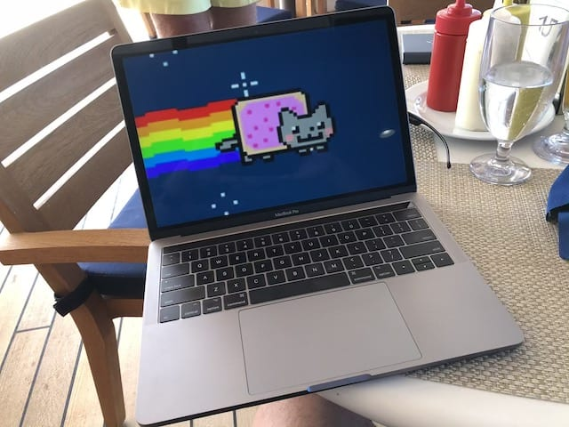 Behold the awesomeness that is nyancat on a MacBook Pro!
