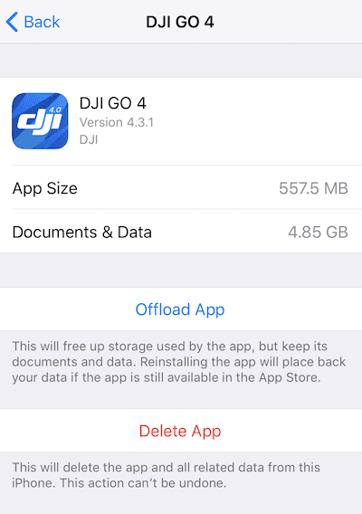 (An app listing listing showing app size and storage used by documents and data)