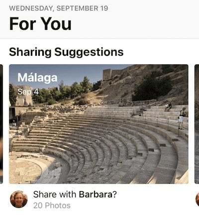 "(The ""For You"" tab and Sharing Suggestions in iOS 12 Photos)"