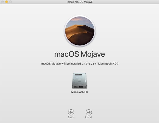 Mac Mojave select disk install window