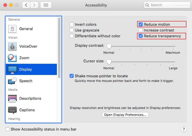 Screenshot of macOS Mojave Accessibility Display