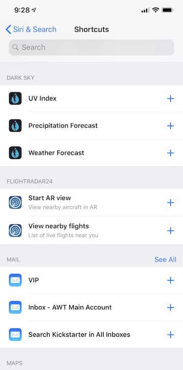 (A list of suggested Siri Shortcuts is created and updated by iOS 12)