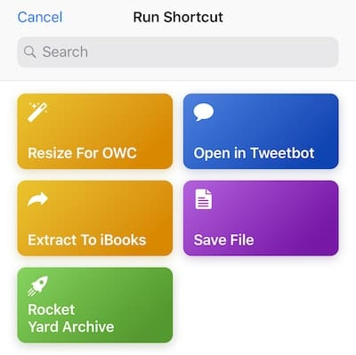 To run the Rocket Yard Archive shortcut, tap the button for it