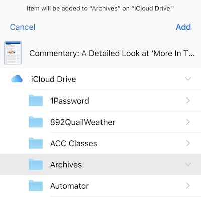 Selecting the folder on iCloud Drive to save the web page PDF into