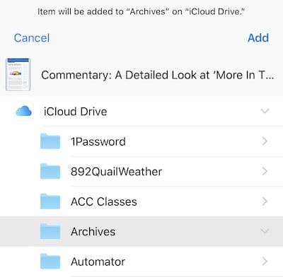 (Selecting the folder on iCloud Drive to save the web page PDF into)