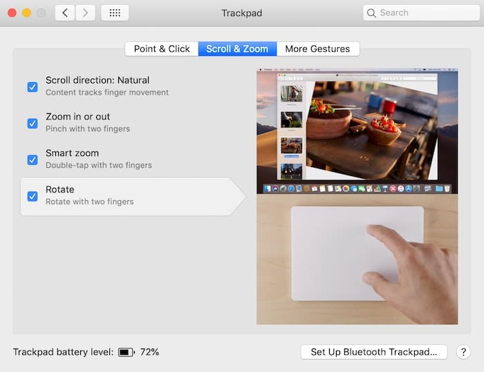 The Scroll & Zoom gesture tab in Trackpad preferences