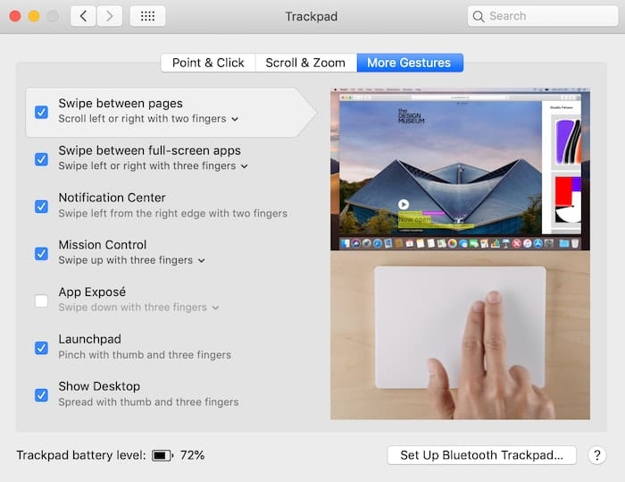 "The ""More Gestures"" tab of Trackpad preferences"