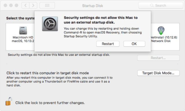 (The message that appears in Startup Disk preferences when the user attempts to use an external startup disk)