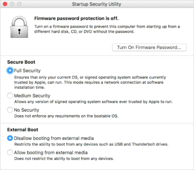 (Startup Security Utility, available on new Macs with the T2 chip)