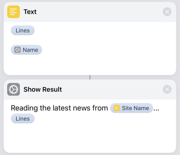 (The shortcut actions required to display the headlines on the screen of the iOS device)