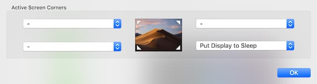 (Selecting a Hot Corner for putting a Mac to sleep)