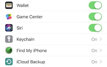 (The iCloud Backup button is at the bottom of a list of Apple apps that use iCloud for storage)