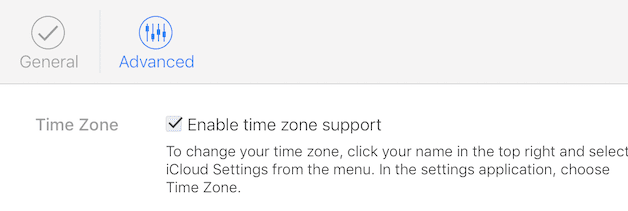 (Enabling Time Zone Support on iCloud Calendar)