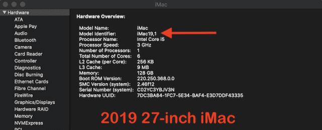 (The correct Model ID for the 2019 27-inch iMac)
