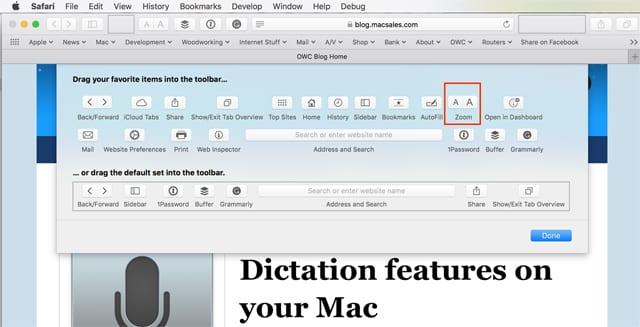 Add zoom buttons to Safari's toolbar.
