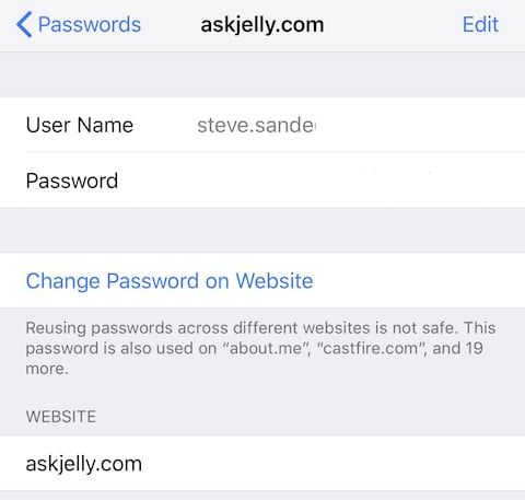 Tap a single entry to see the existing user ID and password and a link for changing the password