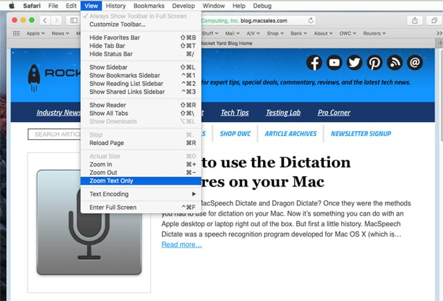 Use Safari view menu to zoom just text.