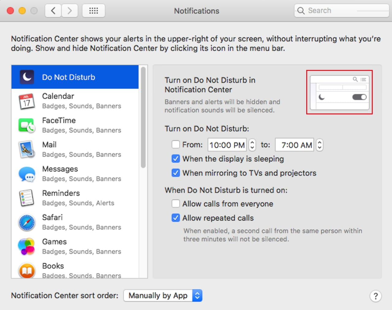 Customize Do Not Distrub settings of the Notification Center.