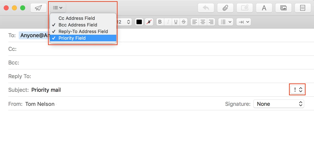 Priority field settings in a new message.