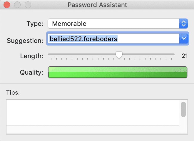 The Password Assistant in Keychain Access is a fast way to create strong passwords.