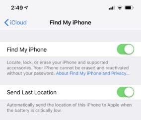 Find My iPhone Preferences Screenshot
