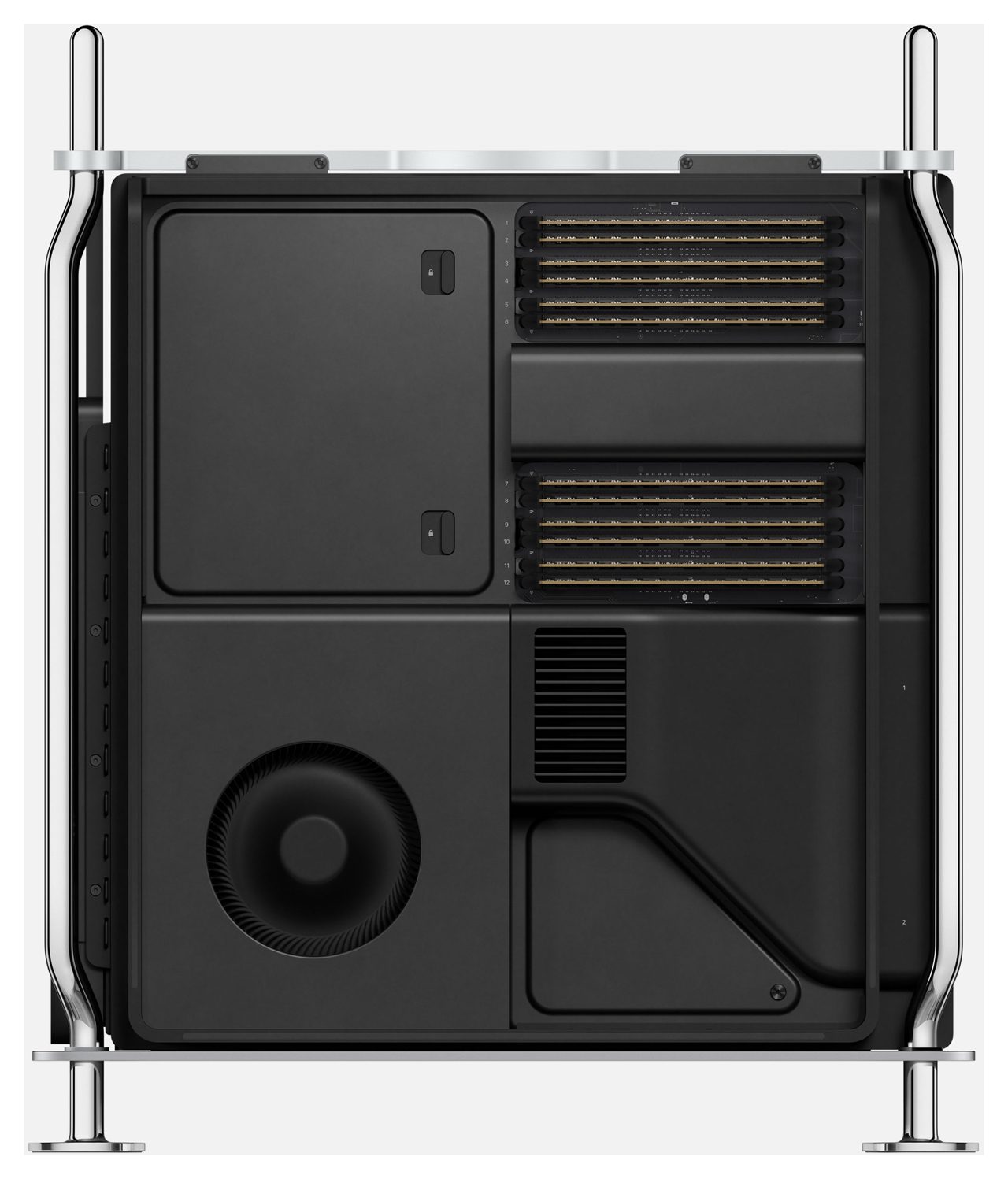 2019 Mac Pro with DIMM slots exposed.