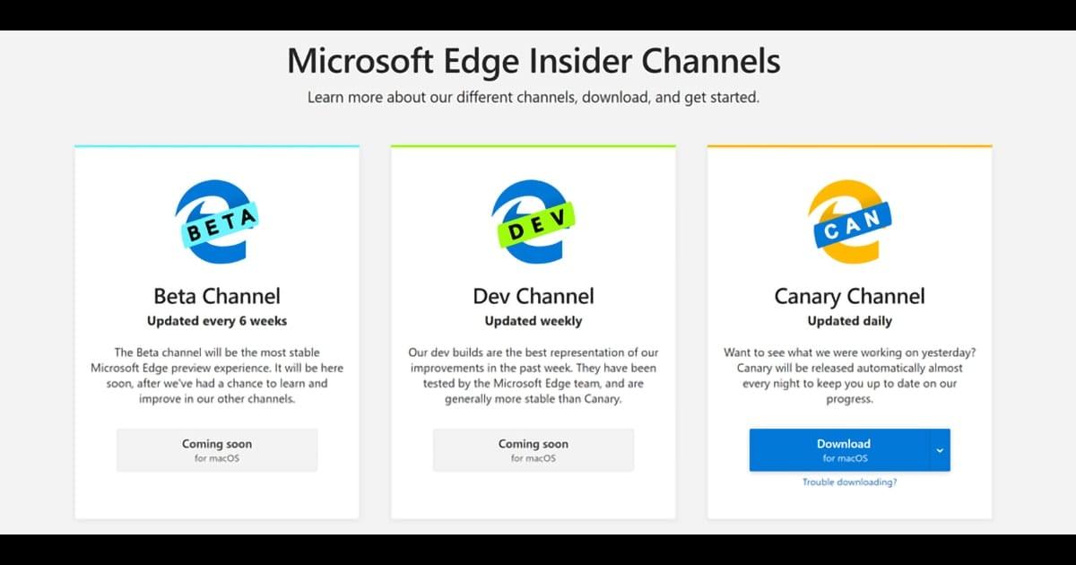 Microsoft Edge Insider Channels