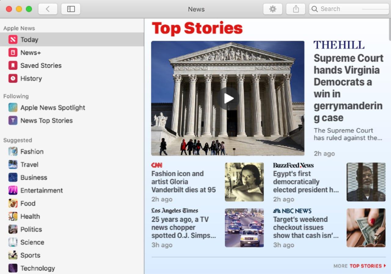 The News App running in macOS Catalina
