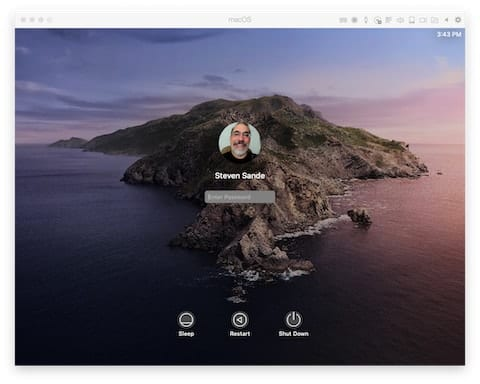 macOS 10.15 Catalina login screen