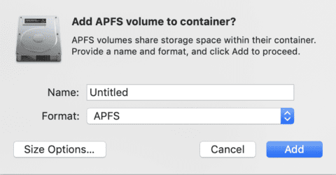 Give your new APFS volume a name, i.e. - Catalina Beta