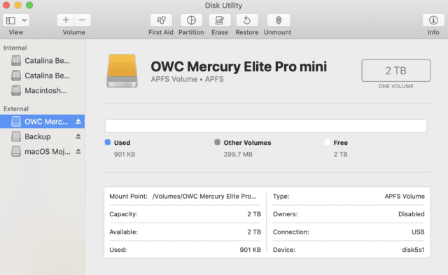 The OWC Mercury Elite Pro mini, erased and formatted as an APFS volume