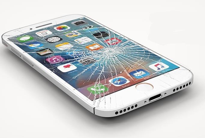iPhone with broken screen