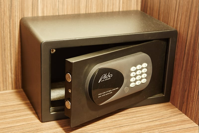 A typical hotel room safe