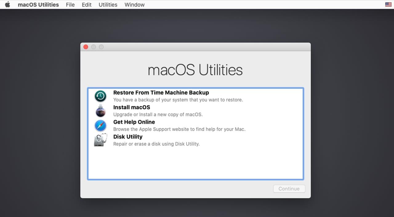 macOS Utilities window.