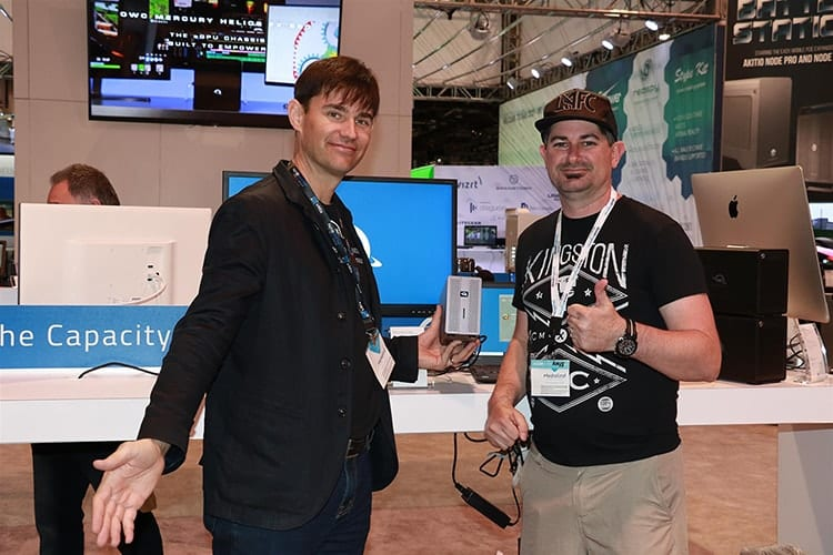 Picture of Larry O'Connor, Founder and CEO of OWC and Dane Brehm of Cintegral Technologies at NAB 2019