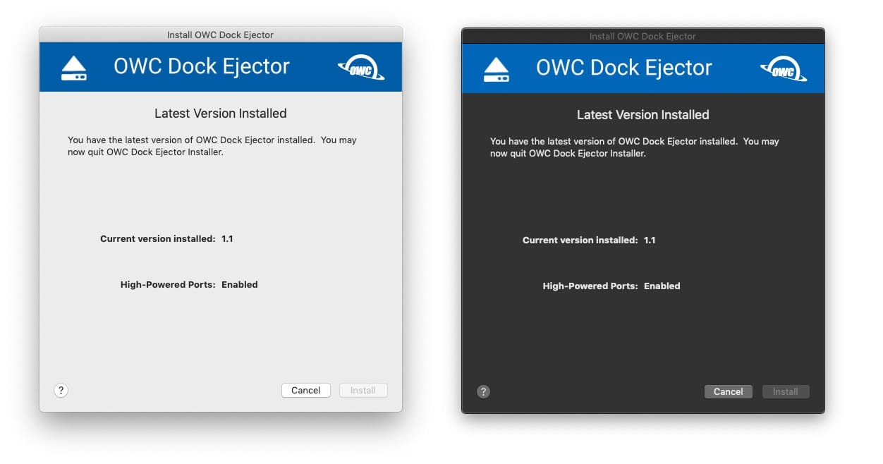 Screenshot image of the OWC Dock Ejector Installation page in both dark and light mode