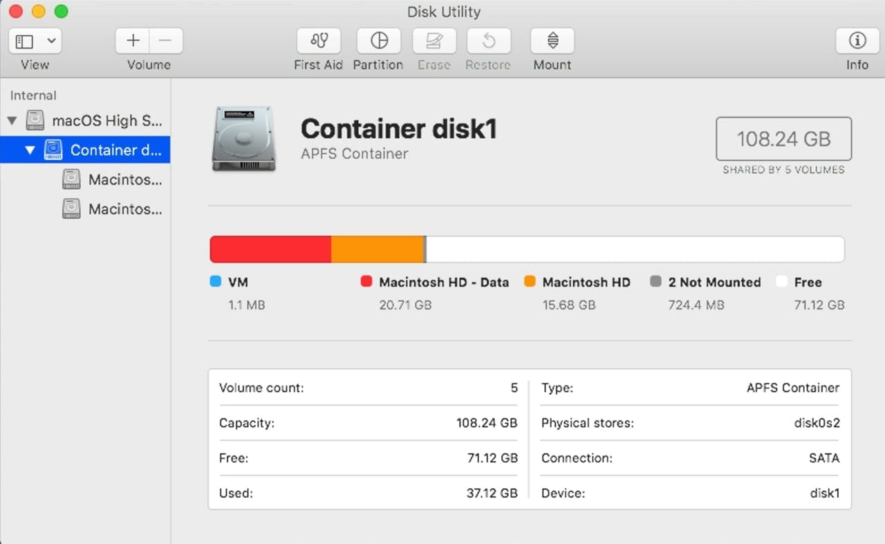 macOS Catalina uses a new APFS feature splits the startup drive into two volumes, a read-only system and a read-write data volume.