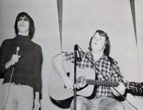 The author (left) and friend Steve Tikal performing in 1974 at William C. Hinkley High School, Aurora, Colorado