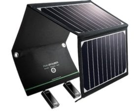 This inexpensive solar charger can top off your devices with the power of the sun and folds flat for easy carrying