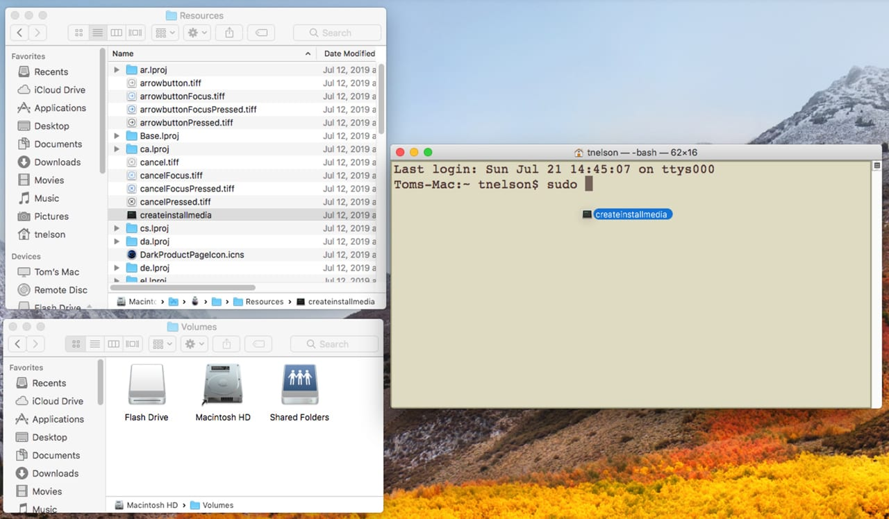 Image showing drag createinstallmedia from the Finder window to the Terminal window.