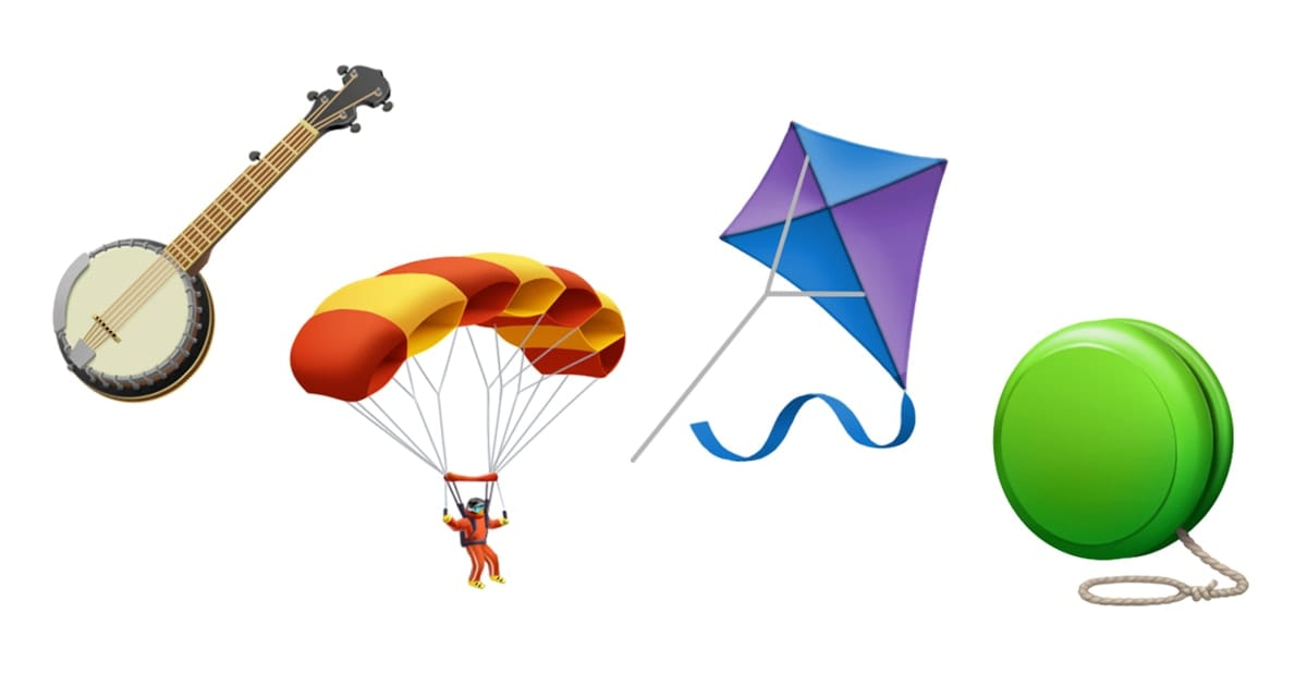 image of banjo, skydiving, kite and yo-yo emojis.
