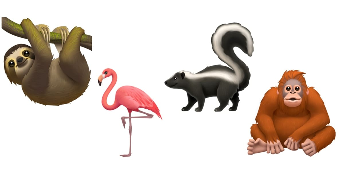 Image of sloth, flamingo, skunk and orangutan emojis.