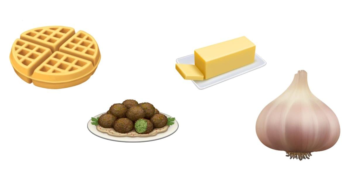 Image od waffle, felafel, butter and garlic emojis.