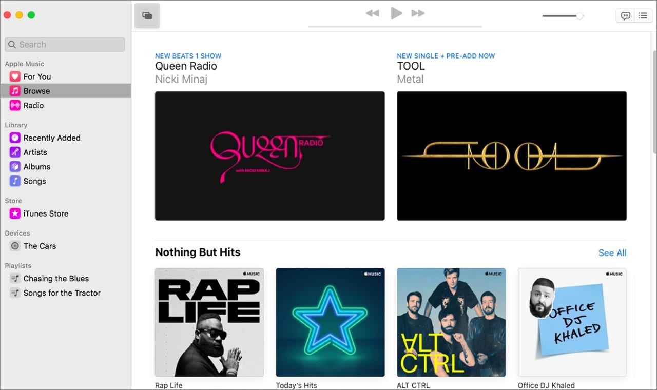 Browse the Apple Music catalog from within the Music app.